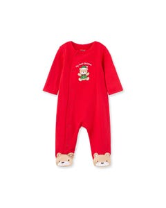 Little Me Boys Sleeper Red Bear Applique Side Closure Size NB-9M | Sleepers Kids 10203N Red