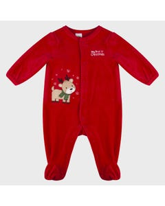 Little Me Boys Sleeper Red Velour Reindeer Applique Size 3M-9M | Baby Sleepers 10214N Red