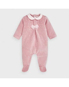 Mayoral Girls Sleeper Pink Velour Dot Print Size 1m-12m | Baby Sleeper Gowns 2752 Pink