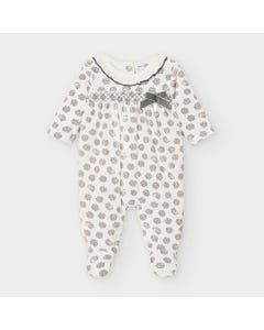 Mayoral Girls Sleeper White & Grey Velour Hedgehog Print Size 1m-12m | Baby Sleepers 2756 White