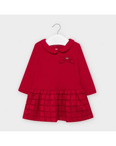 Mayoral Girls Dress Red Knit & Tulle Embroidered Bow Trim Size 6m-36m | Dresses For Infants 2949 Red