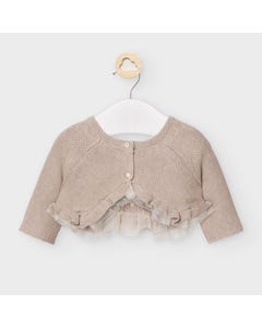 Mayoral Girls Bolero Taupe Tulle Trim Knit Cardigan Size 3m-18m | Infant Sweaters 2336 Brown