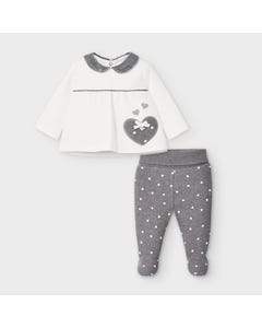 Mayoral Girls 2Pc Top & Pant Set White & Grey Heart Applique Size 0m-9m | Baby Co Ord Sets 2548 White