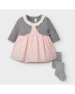 Mayoral Girls 2Pc Dress & Tight Pink & Grey Cardigan Imitation Star Print Size 3m-18m | Baby Dresses 2869 Pink