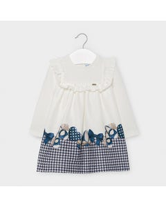 Mayoral Girls Dress White Navy Shoe & Herringbone Print Frill Bodice Trim Size 6m-36m | Toddler Dresses 2946 White