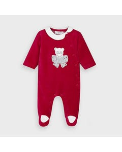 Mayoral Girls Sleeper Red Velour Brown Bow Side Closure Size 1m-12m | Baby Sleeper Gowns 2752 Red