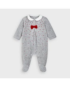 Mayoral Girls Sleeper Grey Velour Red Dots & Bow Print Size 1m-12m | Baby Sleepers 2752 Grey