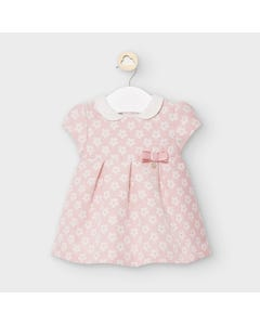Mayoral Girls Dress Pink Jacquard White Flower Print Size 3m-18m | Toddler Dresses 2861 Pink