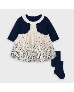 Mayoral Girls 2Pc Dress Navy & Tights Imitation Cardigan Star Print Size 3m-18m | Dresses For Babies 2869 Navy
