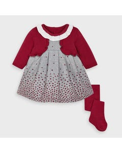 Mayoral Girls 2Pc Dress Red & Tights Grey Star Print Imitation Cardigan Size 3m-18m | Infant Dresses 2869 Red