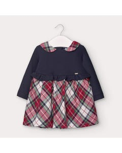 Mayoral Girls Dress Navy & Check Skirt Size 6m-36m | Dresses For Babies 2960 Navy