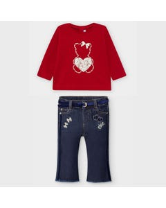 Mayoral Girls 3Pc Top Jean & Belt Red Denim Flared Navy Belt Size 6m-36m | Baby Two Piece Dresses 116 Red