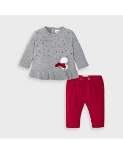 Mayoral Girls 2Pc Sweater & Pant Grey & Red Knit Size 3m-18m | 2 Piece Sets For Babies 2563 Grey