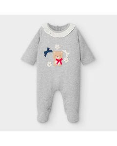 Mayoral Girls Sleeper Grey Bear Applique White Frill Collar Trim Size 1m-12m | Baby Sleepers 2758 Grey
