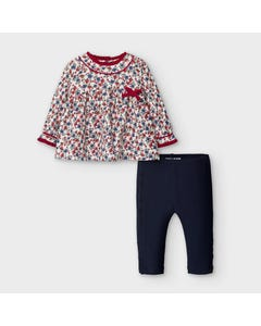 Mayoral Girls 2Pc Floral Top & Navy Legging Size 6m-36m | Two Piece Outfits For Babies 2788 Navy