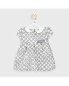 Mayoral Girls Dress Grey Jacquard White Flower Print Size 3m-18m | Dresses For Infants 2861 Grey