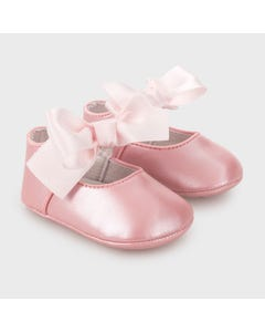 Mayoral Girls Shoe Rose Mary Jane Satin Bow Trim Size 15-19 | Shoes For Infants 9340 Pink