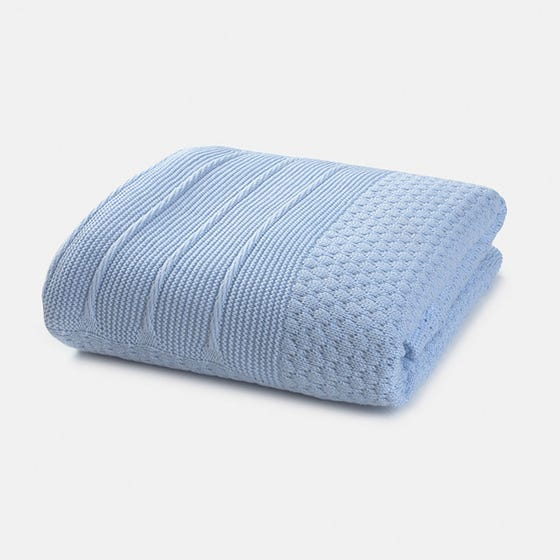 Mayoral Girls Blanket Sky Blue Fur & Knit Size OS | Toddler Blankets 9755 Blue