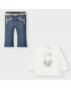 Mayoral Girls 3Pc Top & Jean White Gold Belt & Heart Print Size 6m-36m | Baby Co Ord Sets 116 White