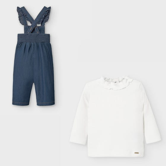 Mayoral Girls 2Pc Overall & Top Denim & Cream Ribbed Mneck Size 6m-36m | Two Piece Sets For Babies 2053 Cream