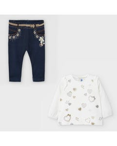 Mayoral Girls 2Pc Top & Legging White Gold Heart Print Navy Size 6m-36m | Baby Two Piece Dresses 2056 Cream