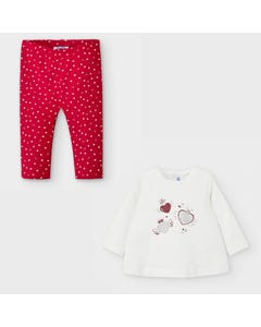 Mayoral Girls 2Pc Top & Legging White & Red Heart Print Size 6m-36m | 2 Piece Sets For Babies 2059 Red