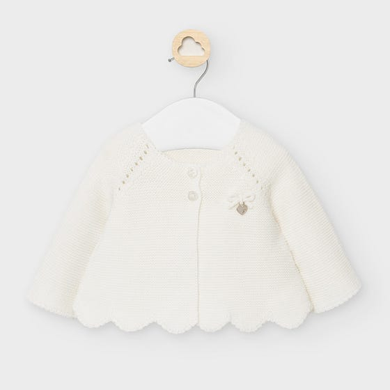 Mayoral Girls Cardigan Cream Knit Scalloped Trim Size 3m-18m | Sweaters For Babies 2333 Cream