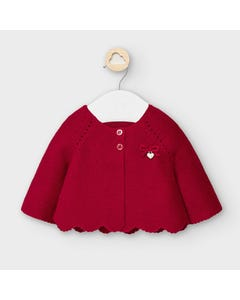 Mayoral Girls Cardigan Red Knit Scalloped Trim Size 3m-18m | Toddler Sweaters 2333 Red