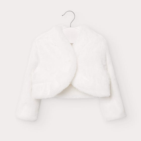 Mayoral Girls Cardigan White Furry Size 6m-36m | Sweaters For Babies 2403 White