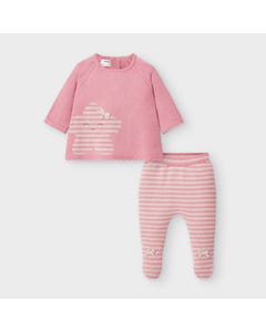 Mayoral Girls 2Pc Pant Set Rose & Beige Stripe Gaiters Size 0m-9m | Infant Pants 2547 Pink