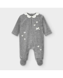 Mayoral Girls Sleeper Grey Velour White Collar & Heart Print Size 1m-12m | Baby Sleeper Suits 2751 Grey