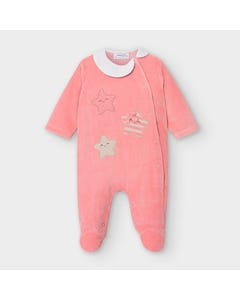 Mayoral Girls Sleeper Rose Star Applique Side Closure White Collar Velour Size 0m-18m   Toddler Sleepers 2754 Pink