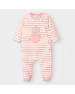 Mayoral Girls Sleeper Blush & Cream Striped Cat Applique Sideclosure Size 1m-12m | Toddler Sleepers 2757 Stripe