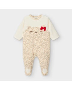 Mayoral Girls Sleeper Beige Paw Print Red Bow Velour Size 0m-18m | Sleepers Kids 2759 Beige