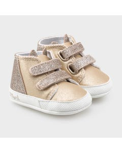Mayoral Girls Shoe Blush & Gold High Cut Gold Sparkle Trim Size 15-19 | Toddler Shoes 9338 Pink