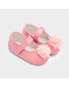 Mayoral Girls Shoe Blush Tulle Flower Mary Jane Size 15-19 | Shoes For Infants 9339 Pink