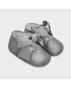 Mayoral Girls Shoe Silver Grey Mary Jane Satin Bow Trim Size 15-19 | Infant Shoes 9340 Grey