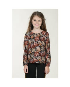BLOUSE BLACK FLOWER PRINT