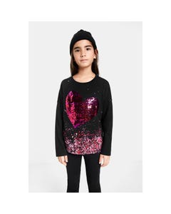 TSHIRT BLACK COVENTRY RED SEQUIN HEART & PRINT