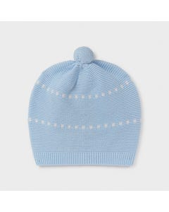Mayoral Boys Knit Hat Pullon Blue With White Squares Print Size 0m-6m | Toddler Hats 9371 Blue