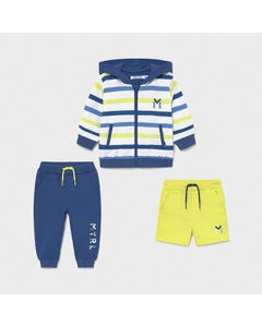 Mayoral Boys 3Pc Cardigan & Sweat Short & Pant Lime & Blue With Hood & Stripes Size 6m-24m | Baby Sweaters 1846 Multi