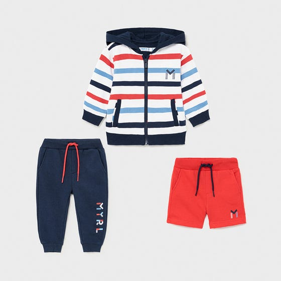 Mayoral Boys 3Pc Cardigan & Sweat Short & Pant Red & Navy With Hood & Stripes Size 6m-24m | Baby Sweaters 1846 Multi