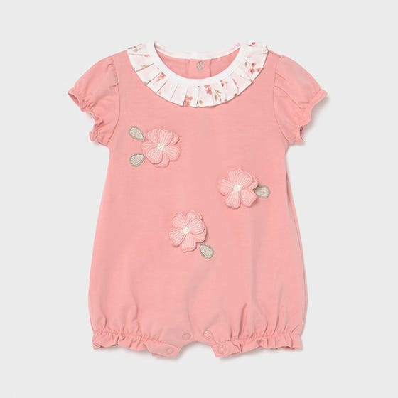Mayoral Girls Short Romper Pink Flower Applique White Pleated Collar Size 0m-18m | Kids Rompers 1610 Pink