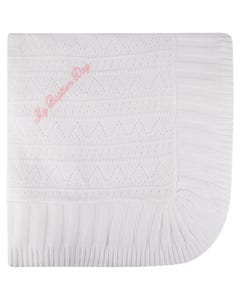 Gianfranca Girls Mbd Blanket Ivory Pink Writing Size OS | Baby Blankets 321 Ivory