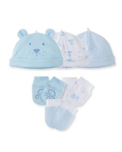 Little Me Boys 6 Pc Hat Mitten Set Blue Size OS | Outerwear For Toddlers 409722 Blue