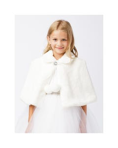 Jolene Girls Fur Capelet White Jewel Button Closure Size 6m-24m | Baby Formal Wear TT7891 White