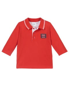 Hugo Boss Boys Polo Top Red Long Sleeve Boss Applique Size 6m-3   Toddler T Shirts J05881 Red