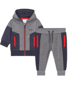 Hugo Boss Boys 2Pc Track Suit Grey & Navy Hooded Red Zip Closure & Trim Size 12m-3 | Boys Tracksuits J08054 Grey