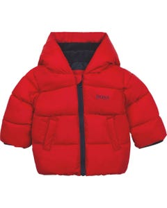 Hugo Boss Boys Puffer Jacket Red Hooded Printed Logo On Hood Size 12m-3 | Baby Coats J6237 Red