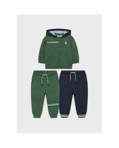 Mayoral Boys 3 Pc Tracksuit Set Green & Navy Hooded 2 Pants Size 6m-36m | Track Suits For Boys 918 Green